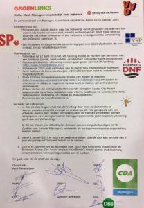 Deze motie werd onlangs aangenomen door de voltallige gemeenteraad van Nijmegen. In navolging van het initiatief van Breda.