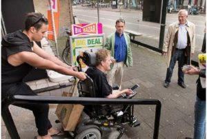 drempelactie  op de Oude Vest in Breda, met platform, BCG en ZET